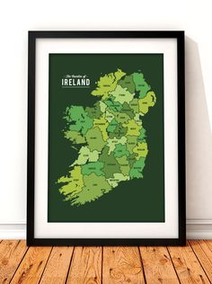 Modern map of Ireland art print. This modern map print would make a great gift for anyone who holds the Emerald Isle dear to their heart. The print