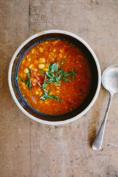 my darling lemon thyme: Spicy tomato + sweetcorn soup recipe