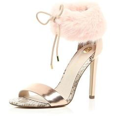 River Island Light pink faux fur ankle strap heels (€60) ❤ liked on Polyvore featuring shoes, pumps, heels, pink, sale, shoes / boots, women, lace up stilettos, laced up shoes and stiletto shoes