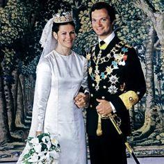 Royal wedding : Queen Silvia of Sweden : wedding dress : Tendencias de Bodas Magazine