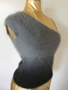 19e199b6dcc22 Crazy Fuzzy Angora Sweater Sexy One Shoulder Gradient Gray Black MNG Mango  Small