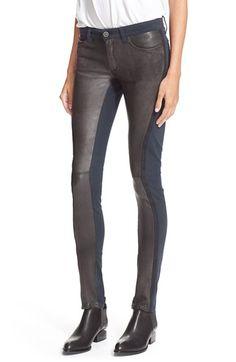 Women's Superfine 'Tex' Leather Trim Skinny Jeans
