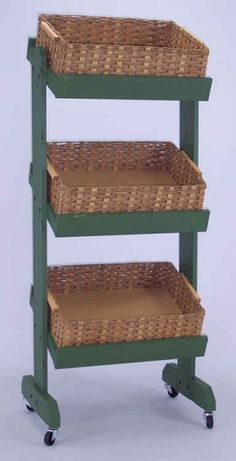 This Wooden Basket Display will attract customers with it's stylish beauty. If you have a product you want to move, then this wood basket display Regal Display, Wood Display, Display Shelves, Display Ideas, Wood Shelves, Shelving, Farmers Market Display, Green Basket, Fruit Shop
