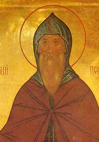 OCA - Beheading of the Venerable Cornelius the Abbot of the Pskov Caves St Cornelius, Orthodox Icons, Caves, Saints, Painting, Painting Art, Paintings, Blanket Forts, Painted Canvas