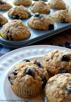 Hearty, whole wheat blueberry muffins that are naturally sweetened. These are the perfect breakfast or snack.