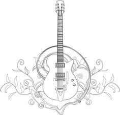 Guitar Coloring Page I Blanco Designs