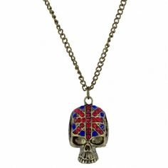 Union Jack golden tone skull longline necklace Available from www.skullaccessories.co.uk