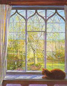 Painting of cat in the window. Spring_Window