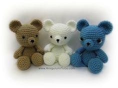 Teddy Bear - Free by Sharon Ojala of Amigurumi to Go | Bears Part 1 - Animal Crochet Pattern Round Up - Rebeckah's Treasures