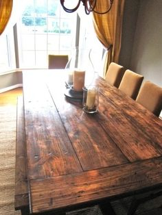 DIY Farm Table with Blueprints – I love this table! If we didn't already hav… DIY Farm Table with Blueprints – I love this table! If we didn't already have a dining room table that I adore I would totally add this to hubby's . Reclaimed Dining Table, Farmhouse Dining Room Table, Rustic Table, Kitchen Rustic, Country Kitchen, Distressed Wood Dining Table, Country Dining Tables, Banquette Dining, Walnut Kitchen