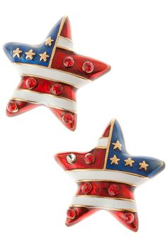 American Flag Star Stud Earrings - American flag star shaped stud earrings in red, white and blue enamel, with gold plate stars and red crystals. Price: $14.50 #American flag star earrings #patriotic star earrings #star earrings http://www.starsandstripesproducts.com/american-flag-star-stud-earrings/