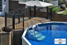 Patio avec piscine hors-terre par Patio Design inc. Pool Deck Plans, Patio Plans, Backyard Plan, Backyard Patio, Patio Deck Designs, Backyard Pool Designs, Patio Design, Decks Around Pools, Swimming Pool Decks