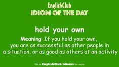 English Idioms, English Vocabulary, English Grammar, Improve Your English, Learn English, Saying Of The Day, Idioms And Phrases, Conversational English, Rare Words