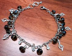 """Music Note Anklet $15 8.5-9.5"""" length, lobster clasp, chain extender. www.facebook.com/BlissfulBeads"""