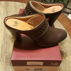Sofft Soleil Studded Leather Clogs Brand new in the box with tags, 4 inch wooden heel, studded, cute and comfortable!!  Size 11 and dark brown. Sofft Shoes Ankle Boots & Booties
