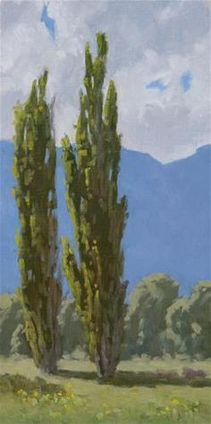 "Daily Paintworks - ""Owens Valley Poplars"" - Original Fine Art for Sale - © Randall Smith"