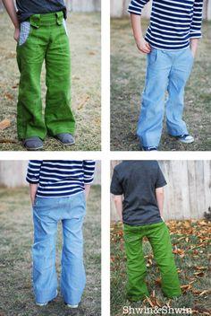 Shwin: Nowhere Man Pants Pattern. Green pants with striped pockets