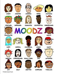 The MOODZ poster (sometimes called Feeling Faces) is a laminated multiethnic… Therapy Worksheets, Therapy Activities, Elementary Counseling, School Counseling, Co Teaching, School Social Work, Therapy Tools, Social Emotional Learning, Feelings And Emotions