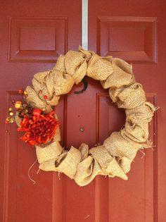 Autumn Burlap Wreath by GeorgiaCottonBlossom on Etsy