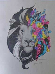Fantasy Lion colored by Glenda Works - Favoreads Coloring Art Club - Favoreads Coloring Art Club Creation Bougie, Egyptian Drawings, Arte Grunge, Cuadros Diy, Lion Drawing, Printable Adult Coloring Pages, Pattern Photography, Quilling Patterns, Lion Tattoo