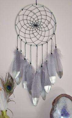 Silver Gray Dream Catcher, Wall Hanging Dream Catcher Nursery Decor, Birthday Gift, Feather Dreamcatcher, Silver Tribal Home Wall Decor