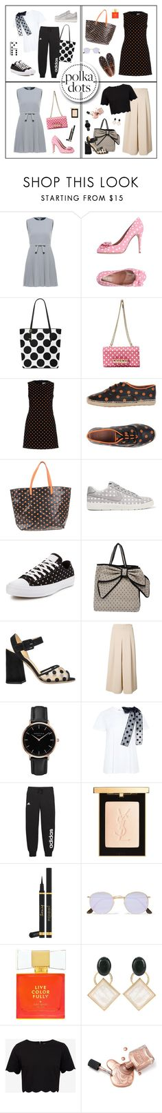 """""""So Dotty: Polka Dots"""" by shoujoandmore ❤ liked on Polyvore featuring RED Valentino, Valentino, NIKE, Converse, Charlotte Olympia, TIBI, ROSEFIELD, adidas, Yves Saint Laurent and Ray-Ban"""