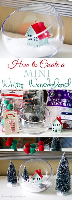 I love all things mini! Here's how to make your own Mini Winter Wonderland in only 5 minutes. Rustic Christmas, White Christmas, Holiday Fun, Christmas Holidays, Christmas Ideas, Christmas Crafts, Christmas Decorations, Holiday Decorating, Christmas Ornaments