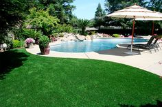 My idea is gaining popularity.so says the article. Faux grass pool surround for the vintage kidney shaped pool will prevent slipping and hide flaws! Artificial Grass For Dogs, Artificial Turf, Kidney Shaped Pool, Synthetic Lawn, Faux Grass, Astro Turf, Yard Design, Fukuoka, Backyard Landscaping