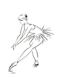 Ink Drawing Art Print of Ballerina Minimalist by CanotStopPrints