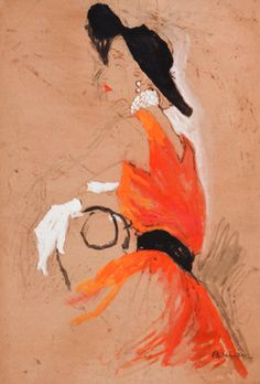 By Brian Stonehouse M.B.E. (1918-1998), ca. 1955, probably in Vogue, The Orange Dress. Gouache and ink with fibre-tip pen.