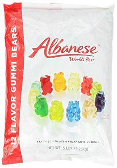"""Albanese 12 Flavor Assorted Gummi Bears, Fat Free, 5-Pound Bags (Pack of 2) 12 Flavor of Gummi Bears Soft, bursting with flavor and fresh It's an Albanese World's Best gummi bear if it has the """"A"""" on the bears belly"""