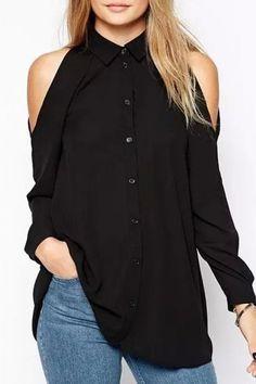 Glamorous Solid Cutout Pleated Shirt