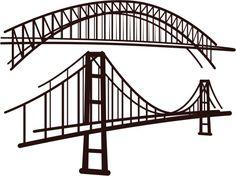 Illustration of set of bridges vector art, clipart and stock vectors. Free Vector Images, Vector Art, Vector Stock, Tape Wall Art, Happy New Year Vector, Globe Vector, Waves Vector, Dibujo, Frames