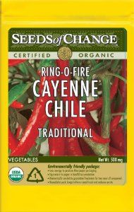 Seeds of Change S10789 Certified Organic Ring-O-Fire Cayenne Pepper by Seeds of Change. $4.96. Free of GMO's (genetically modified organisms), chemicals and pesticides. Independently tested for high germination rates and purity and meets or exceeds federal standards. Hermetically sealed package that is re-sealable gives longer life and higher germination rates. 100-Percent certified organic seeds grown in the USA for over 20-year. Seeds of change contributes 1-percent of net sal...