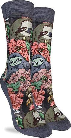 Good Luck Sock Women's Floral Sloths Crew Socks - Grey, Adult Shoe Size 5-9 Good Luck Socks, Cool Socks, Fashion Brands, Topshop, Sloths, Grey, Floral, Shoe, Color