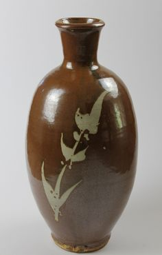 Jim Malone - Tall Bottle Vase, Wax Resist Under Kaki Glaze