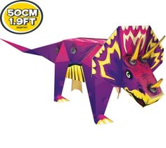 Makedo Ready to Build Triceratops creation  Build your own 3D cardboard construction. Everything you need is included in the box. Become a cardboard construction expert using Makedo's specially designed Scru and Scrudriver. Range includes Dinosaurs, Vehicles, Predators, Desserts & Pets • $15 USD