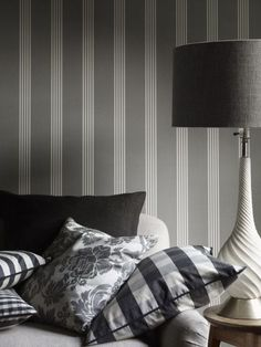 Oxford Stripe Charcoal - wallpaper from Ian Mankin, available from Victoria…