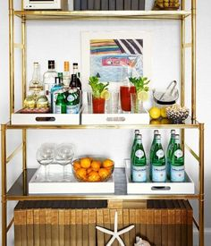 Who Needs a Bar Cart?  Organize Your Home Bar With Lacquer Trays | The Kitchn