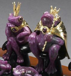 """Ruby, Obsidian and Rock Crystal Quartz Chess Set-""""The Frog Prince"""" Designed by Luis Alberto Quispe. Chess Pieces, Game Pieces, Chess Set Unique, Classic Fairy Tales, Kings Game, All Things Purple, Nice Things, Frog And Toad, Board Games"""