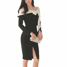 2017 Primavera Mulheres Manga Comprida de Slash Neck Bow Preto Bodycon dress elegante fora do ombro sexy ladies magro party dress Formal