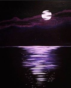 Purple lake moon painting. 40 Artistic Acrylic Painting Ideas For Beginners