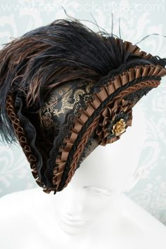 Cocktail Hat, Steampunk Costume, Floral Headpiece, Gold Silk, Fascinator Hats, Brocade Fabric, Peacock Blue, Metal Flowers, Velvet Ribbon