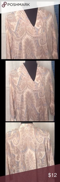 """🌹Blair Blue and Brown Blouse Blair blue, brown and cream blouse with 3/4 length sleeves. Label missing. measurements for bust and hips - 48""""). jacket and jeans available in separate listings. 🌹winter clearance - Bundle 2 items marked by a rose and offer $20. Your offer will be accepted. Tops Blouses"""