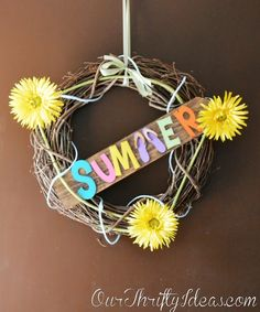 Summer Wreath Idea using Pick Your Plum letters
