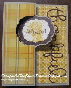 """Stampin' on the Prairie: Truly Grateful Card, """"truly grateful"""", """"label card thinlits die"""", """"expressions thinlits dies"""", sweater weather designer series paper. Stampin' Up!"""