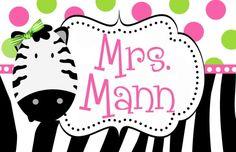 ZEBRA LOVE TEACHER DOOR SIGN-zebra, teacher signs, preppy