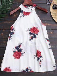 $15.07 Floral Print Flowy Choker Halter Top - WHITE M