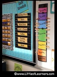 Daily schedule with pockets (easy to move or switch around)...could also use velcro to do this.