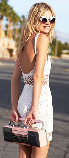 street style white crochet dress